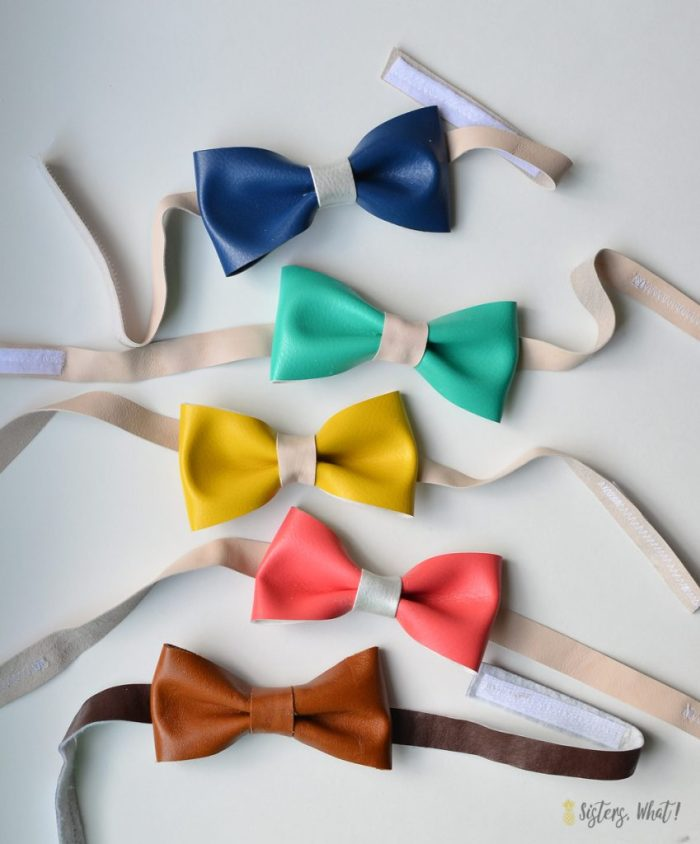 easy fake bowtie for boys using colorful faux leather