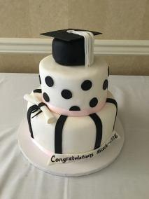 black-pink-and-white-graduation-cake