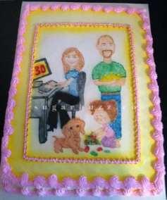 A family artwork cake