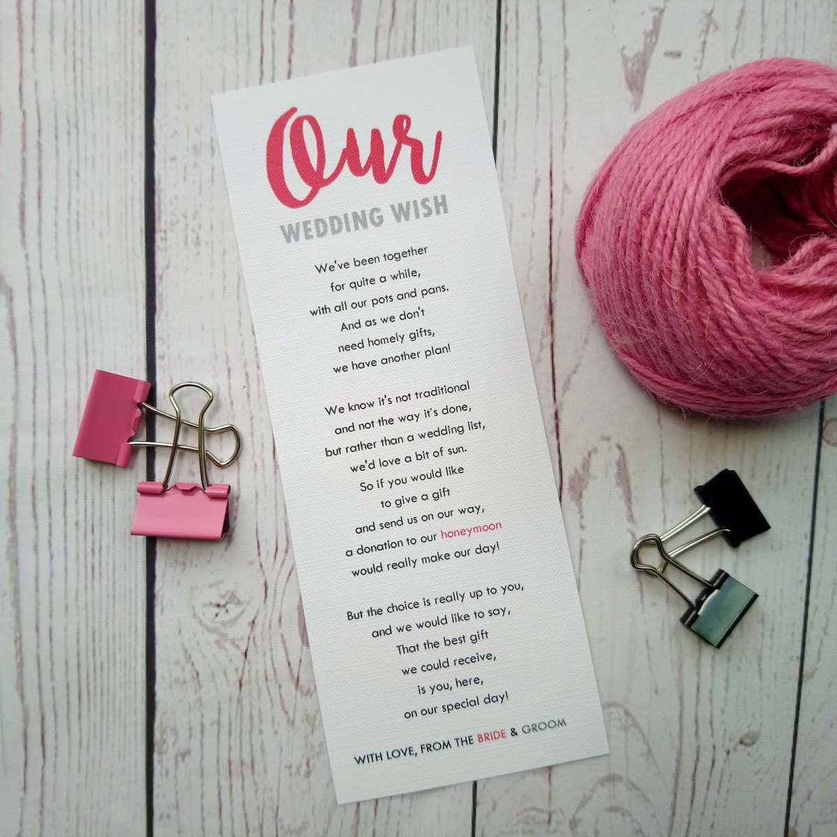 Boy Meets Girl Honeymoon Wish Poem on white textured card