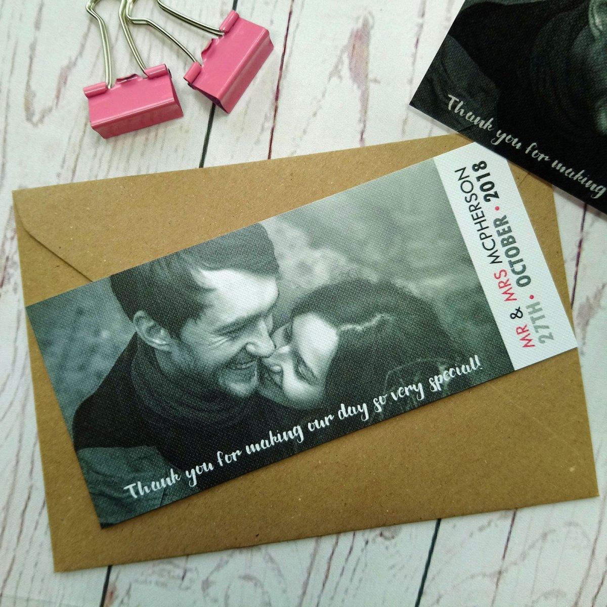 Picture in black and white for the Boy Meets Girl Thank You Card. Writing on white, grey, black and pink