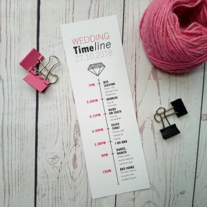 Featuring a diamond, Boy Meets Girl Wedding Timeline in pink, grey and black