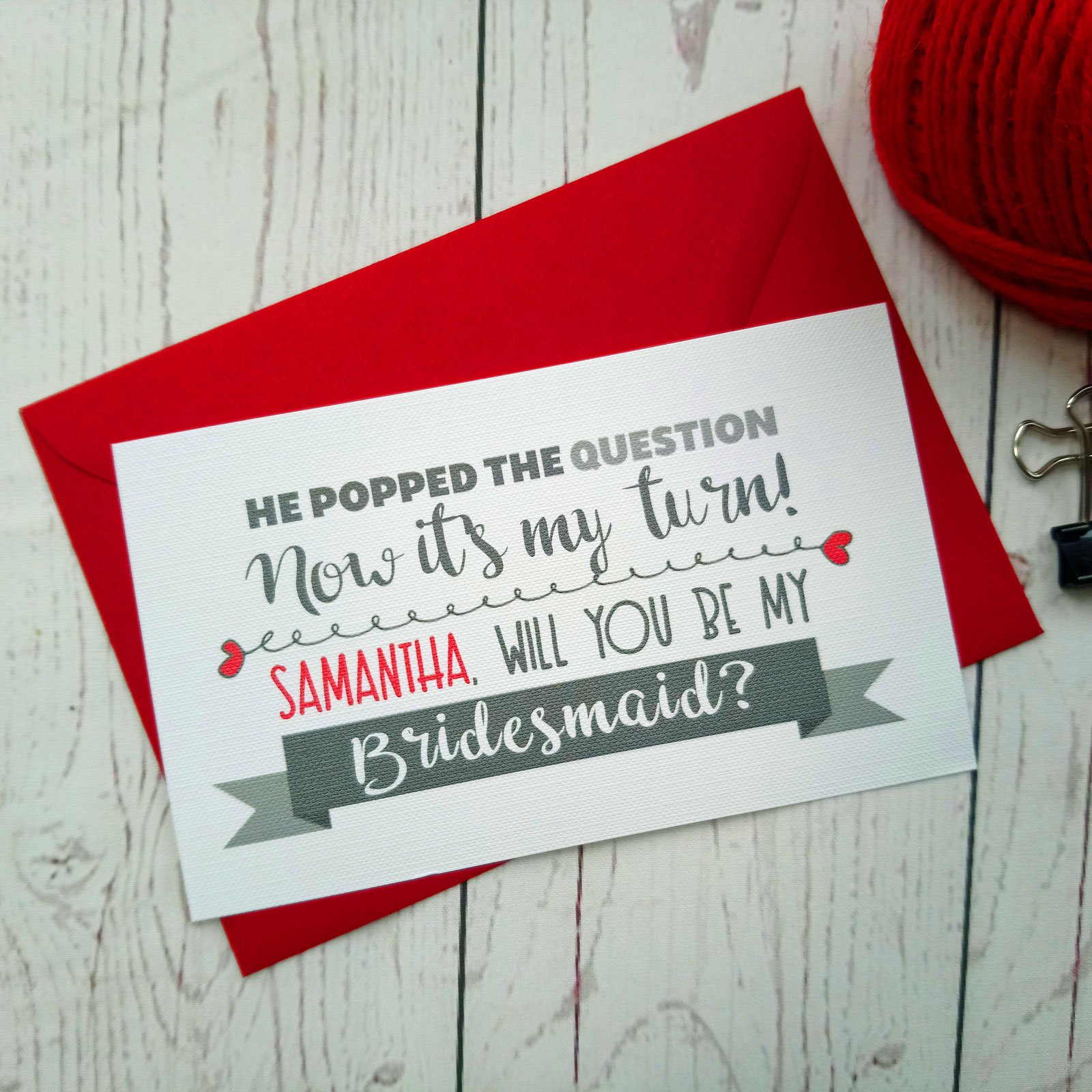 Lovers Bike Love heart Bridesmaid Request with grey banner. He popped the question