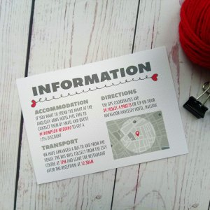 Lovers Bike Love heart Information Card with a little map and info about accommodation, directions and transport