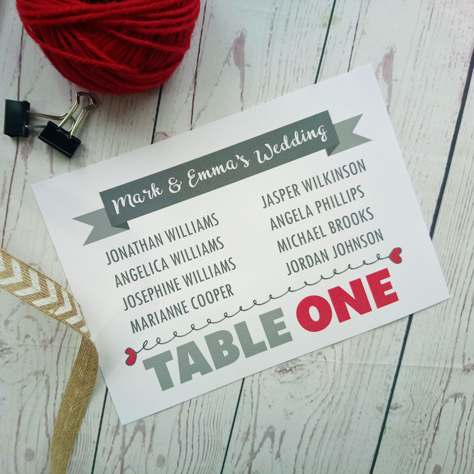 Lovers Bike Love heart Table Plan Table One with grey banner