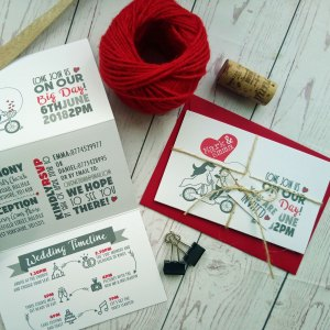 Lovers Bike Love heart Wedding Invitation Set with matching red envelope