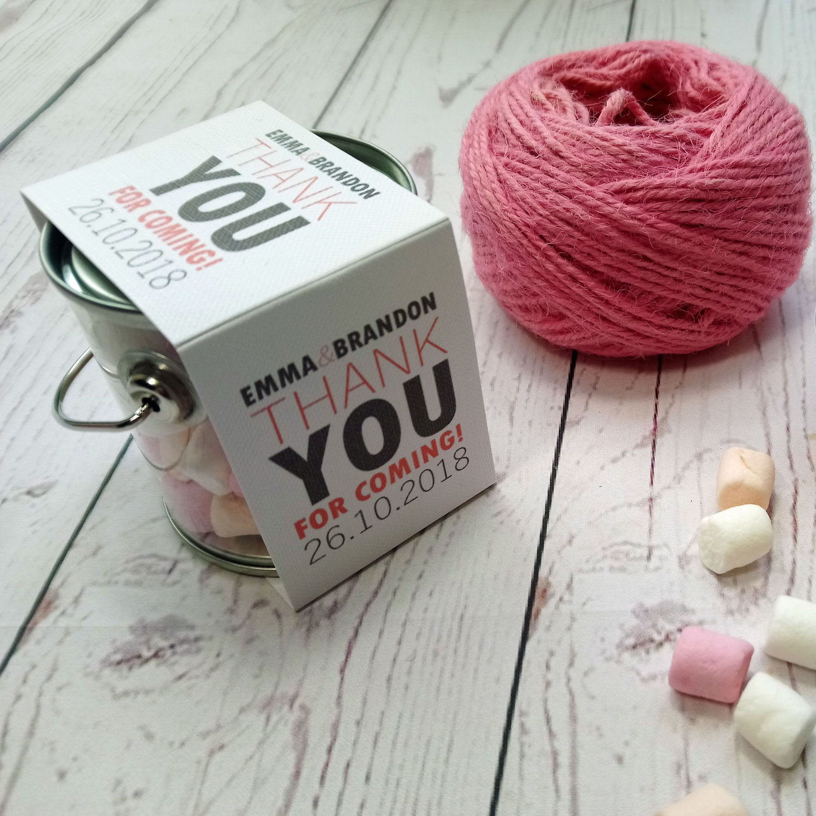 Marshmallow Bucket Wedding Favour with white, pink and salmon marshmallows. Metal tin with white card decoration
