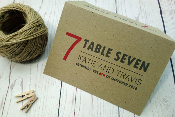 Passport Destination Travel Table Number in red and dark grey