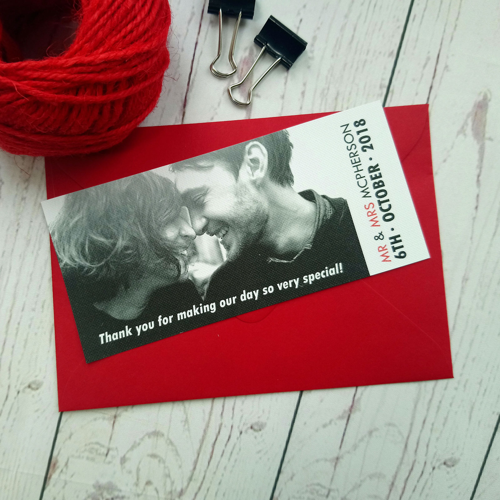 Movie Concert Photo Ticket Thank You Card with matching red envelope