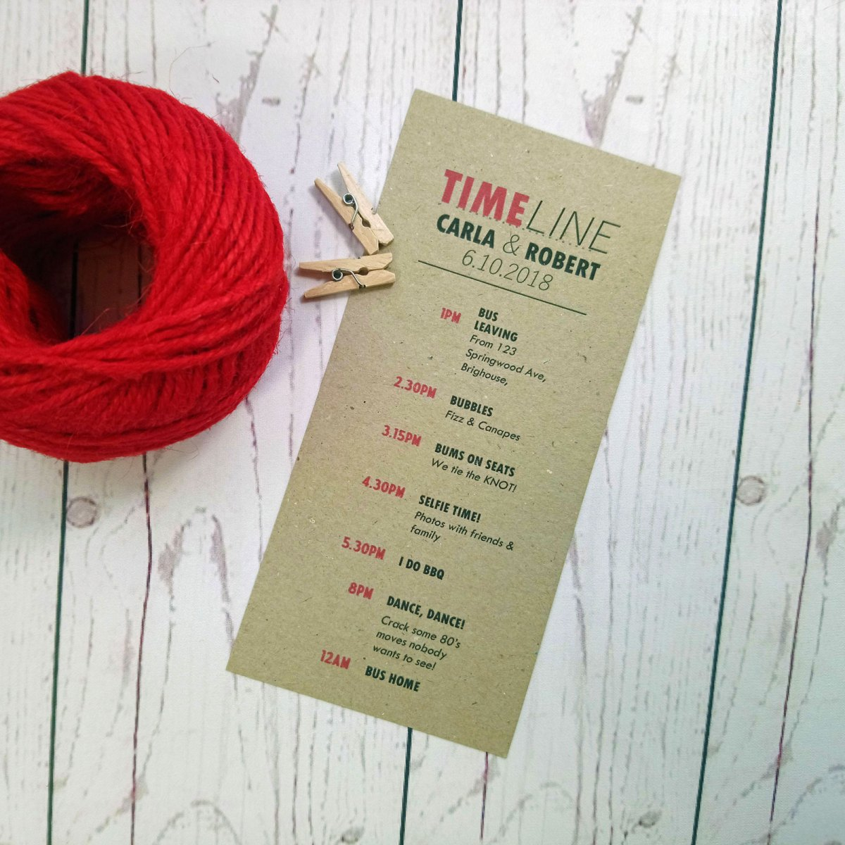 Photo Booth Wedding Timeline with wedding times and activities in craft card with red and black writing