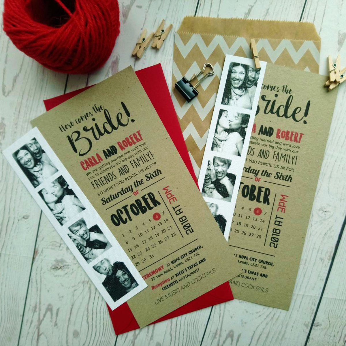 Craft card Here Comes The Bride Photo Booth Wedding Invitation with red envelope and photobooth pictures of the future bride and groom in white card