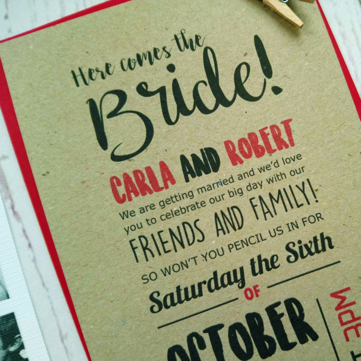 Here comes the bride detail Phoot Booth Invitation
