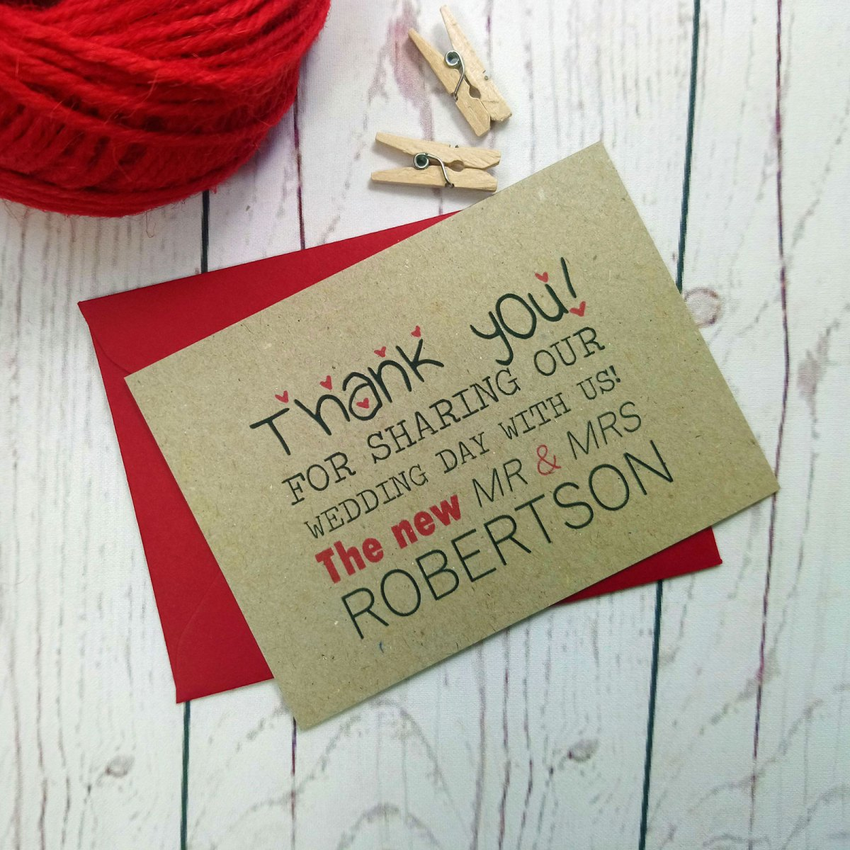 Brown eco card Photo Booth Wedding Thank You Card with red envelope