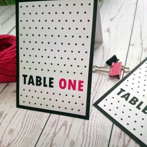 Polka Dot Wedding Table Number in black and fuchsia