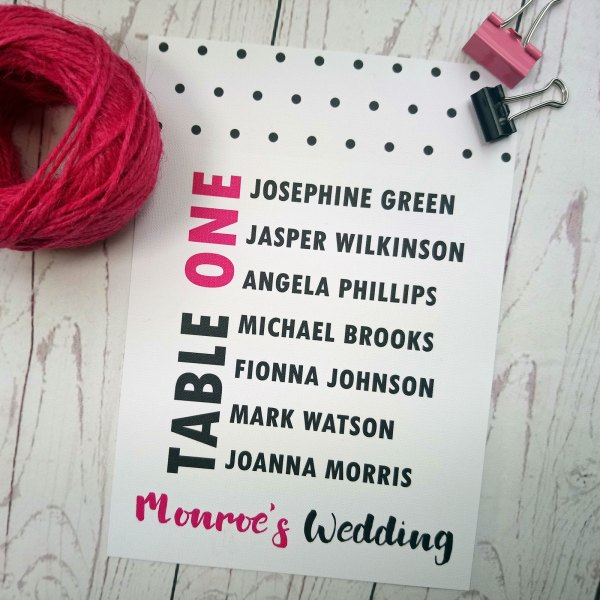 Polka Dot Table Plan A5 size in black and fuchsia