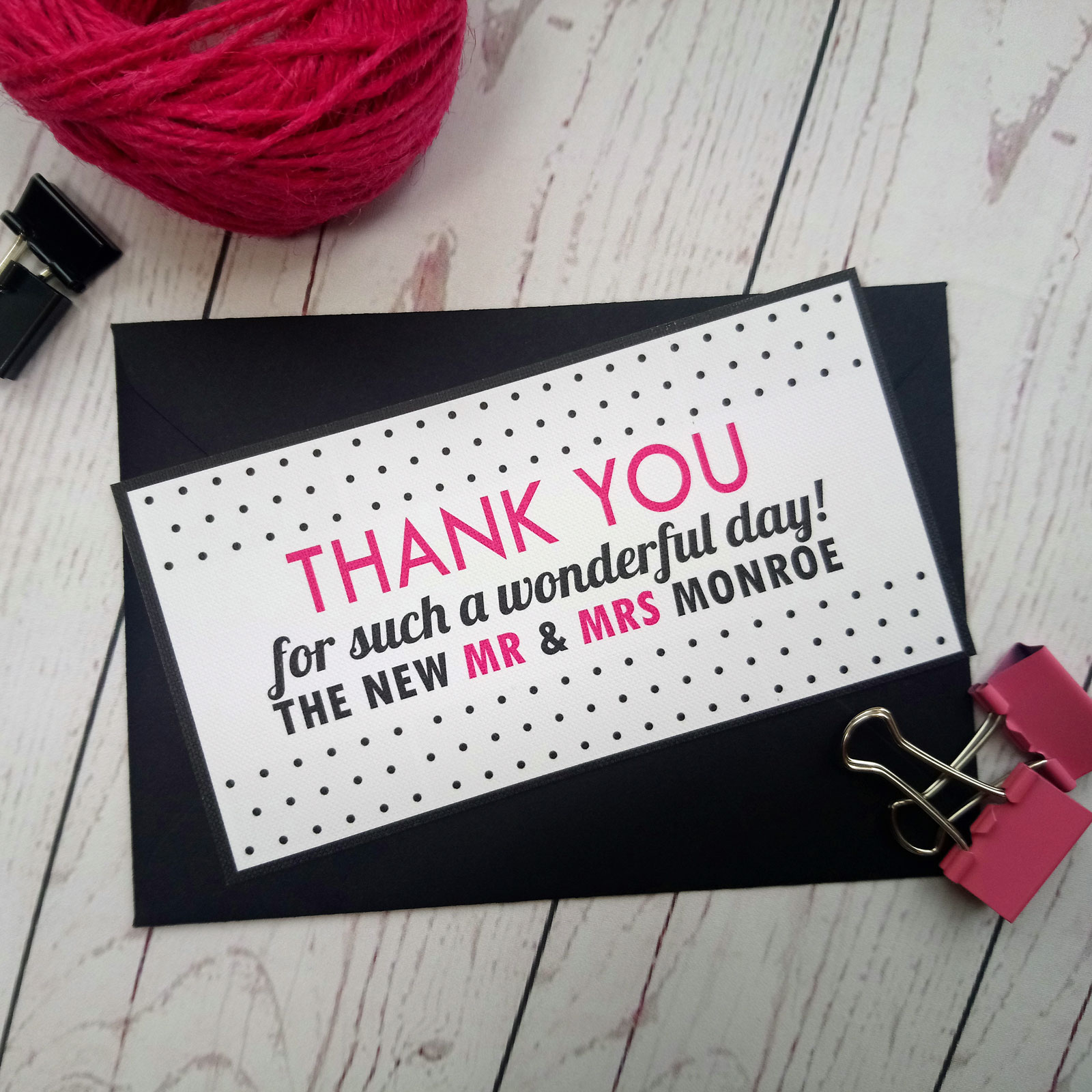 Polka Dot Thank You Card in blak and fuchsia with black envelope