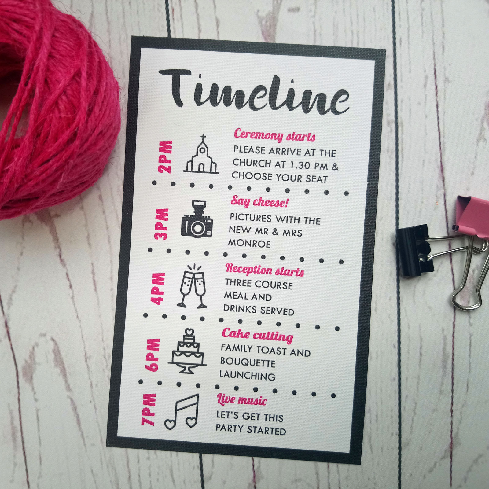 wedding time line wedding time line