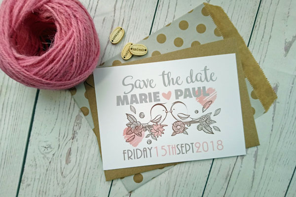 Vintage Birds Save The Date card with birds picture, bride and groom's name and wedding date