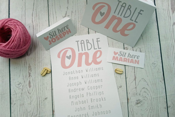 Table itmes: place cards, table number and table plan of the Vintage Birds Triptych Wedding Collection