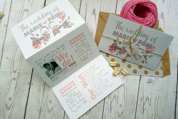 Vintage Birds Triptych Wedding Invitation General Picture of invite open and invite closed with twine