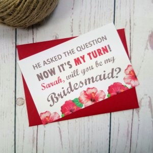 Watercolour Flowers Bridesmaid Request Card with matching red envelope