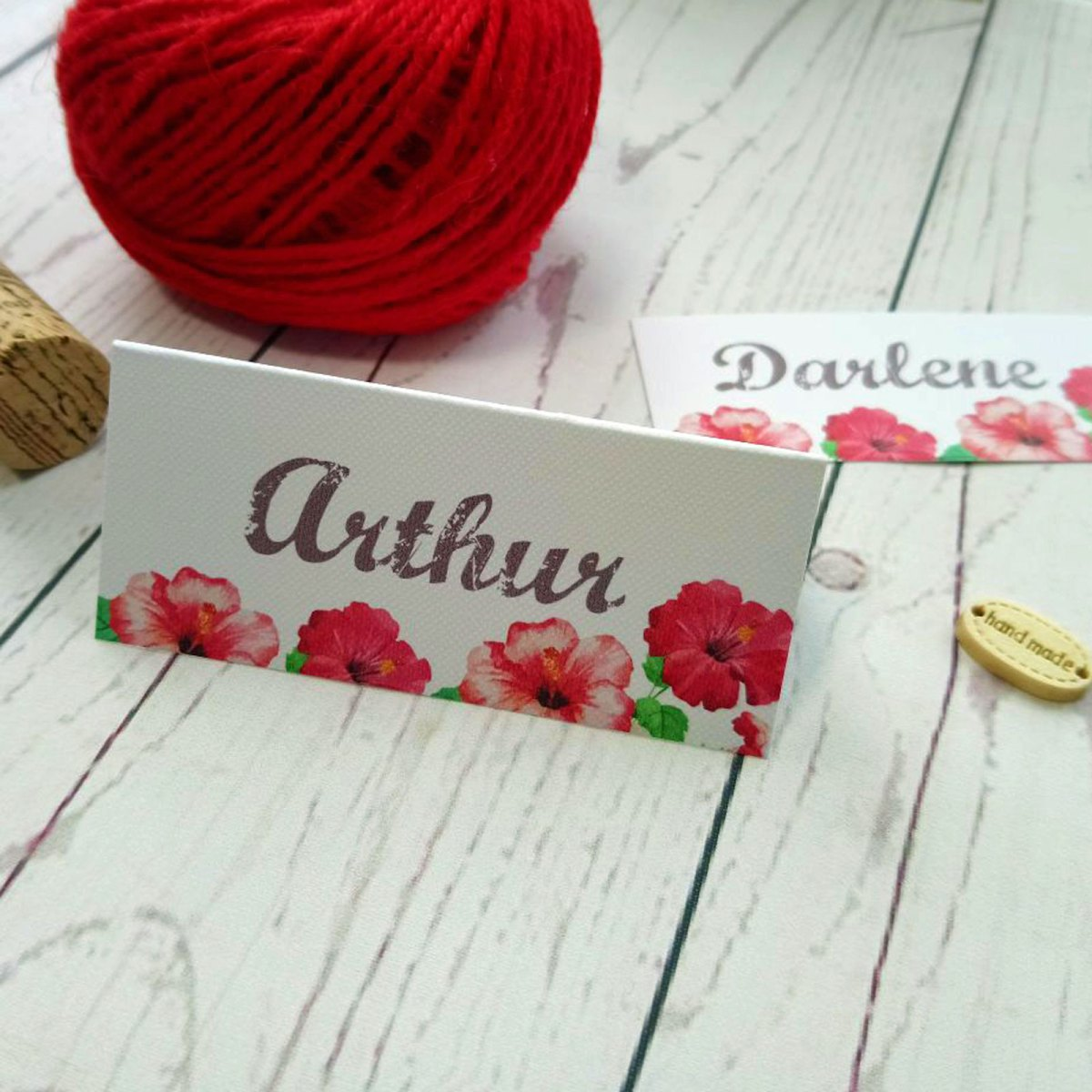 Watercolour Flowers Place Card, folde up at the front and flat at the back