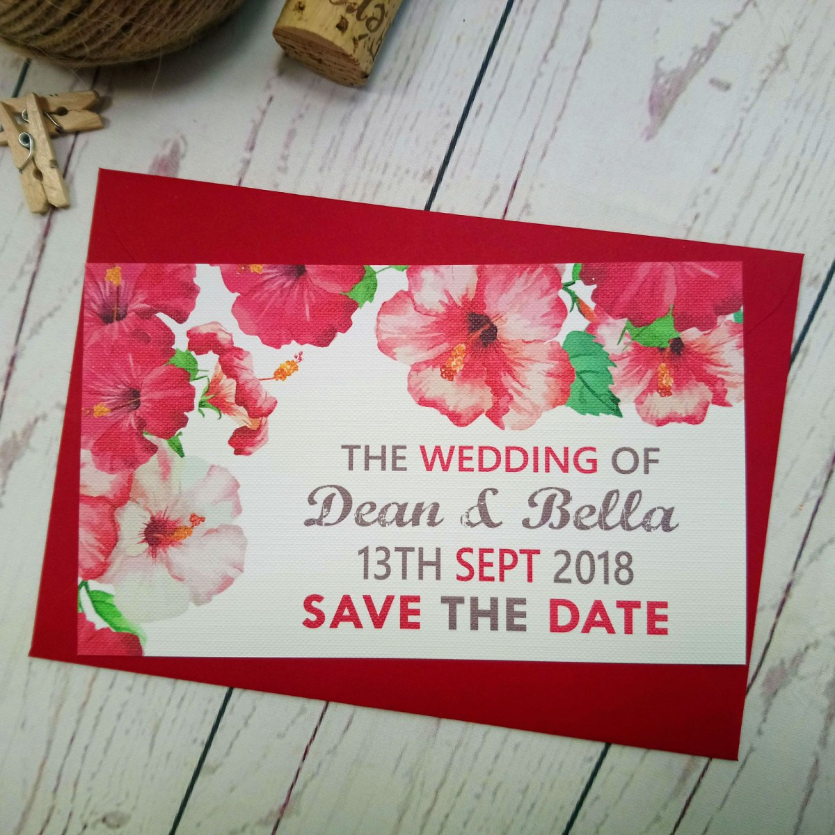 Watercolour Flowers Save The Date with matching red envelope