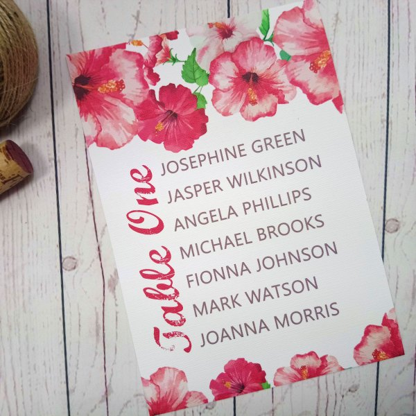 Watercolour Flowers Table Plan with retro waterflowers