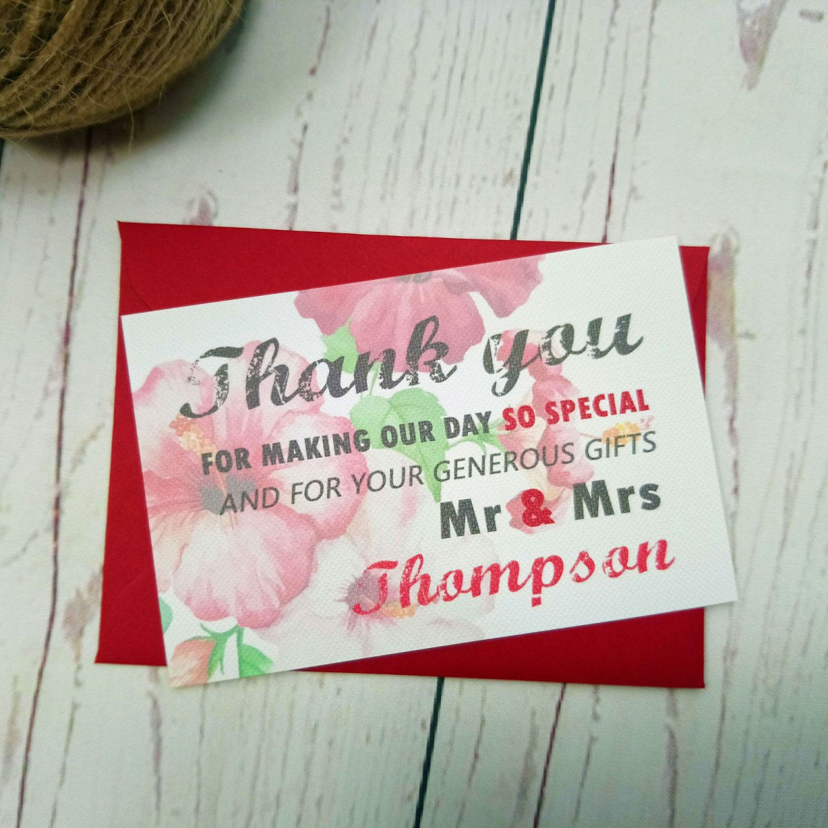 Watecolour Flowers Thank You Card with matching red envelope and faded flowers on background