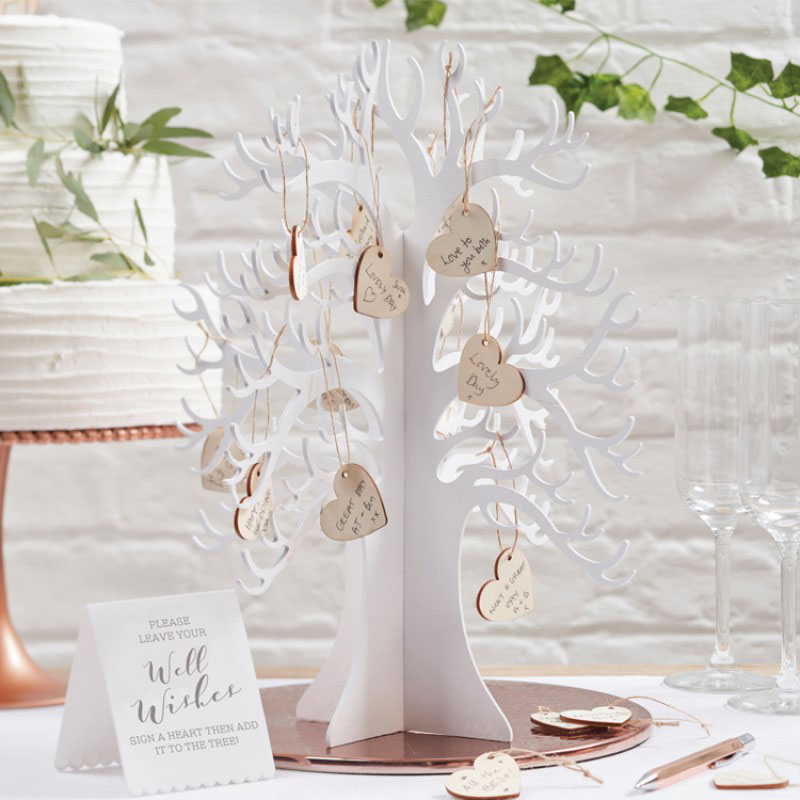 Wooden Wishing Tree Wedding Guest Book in white with wooden hearts