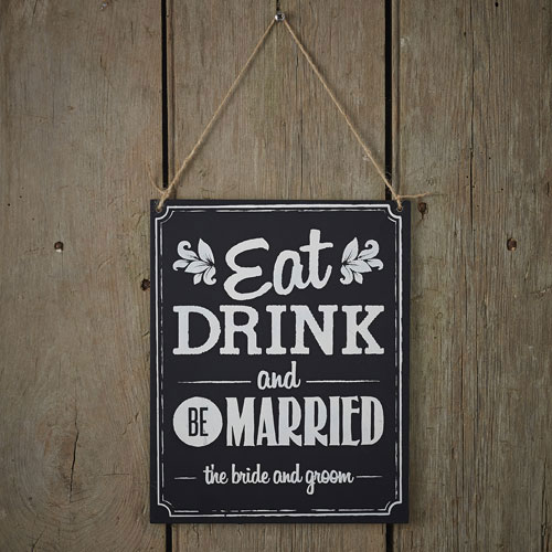 Eat Drink Be Married Sign wooden vintage rustic sign