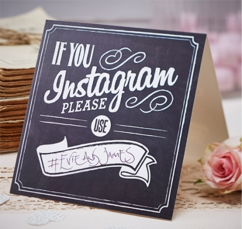 Wooden Instagram Table Sign chalkboard effect sign