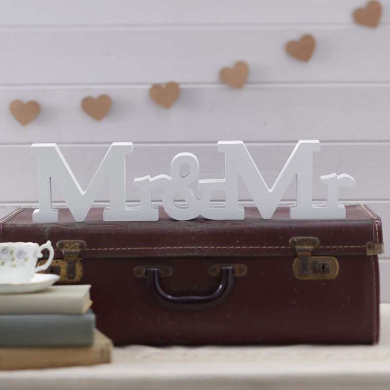 Mr and Mr Wooden Wedding Sign for gay couples vintage decoration