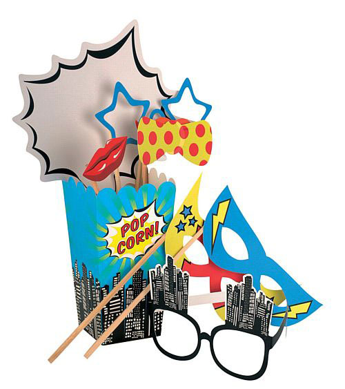 Pop Art Super Hero Photo Booth Props Kit for photo booth parties