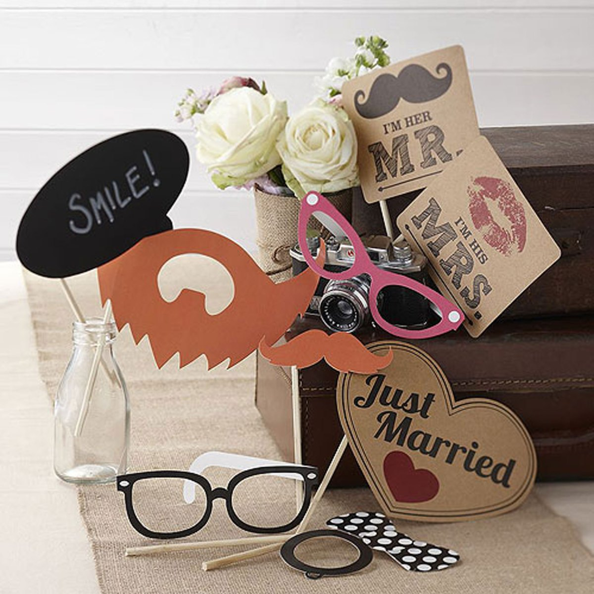 VIntage Photo Booth Props Kit with moustache and glasses and mr and mrs sign Just married sign