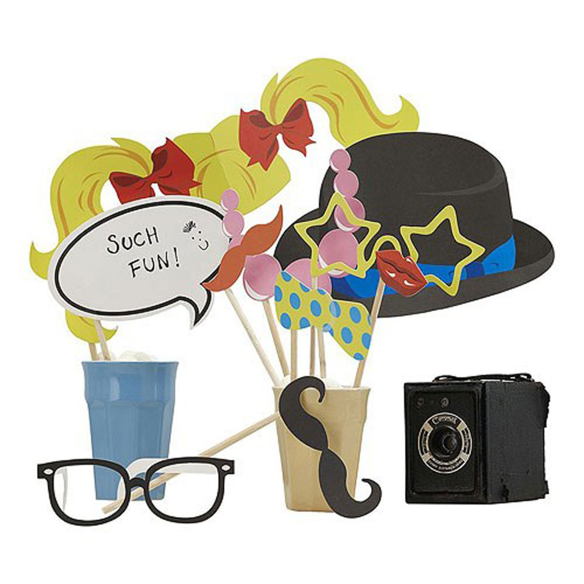 Vintage Classy Photo Booth Props Kit with hat, glasses and speech bubble
