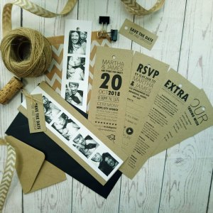 Craft Photo Booklet Wedding Invitation Set layers: invite, rsvp, honeymoon wish poem and photo booth pictures