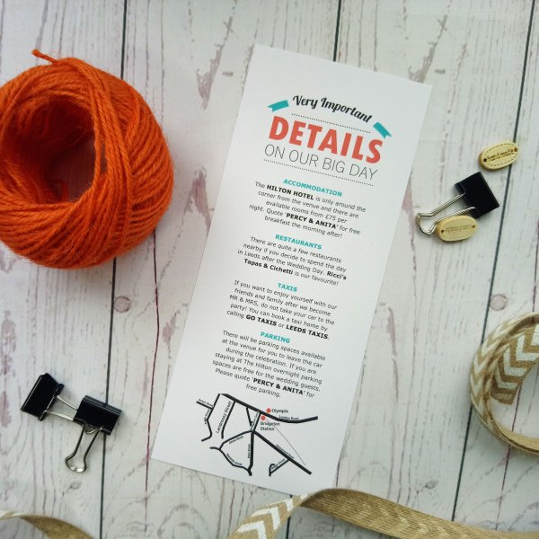 Lovers Tie The Knot Information Card with map