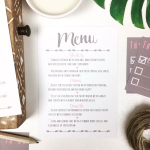 Dusky pink and grey menu card