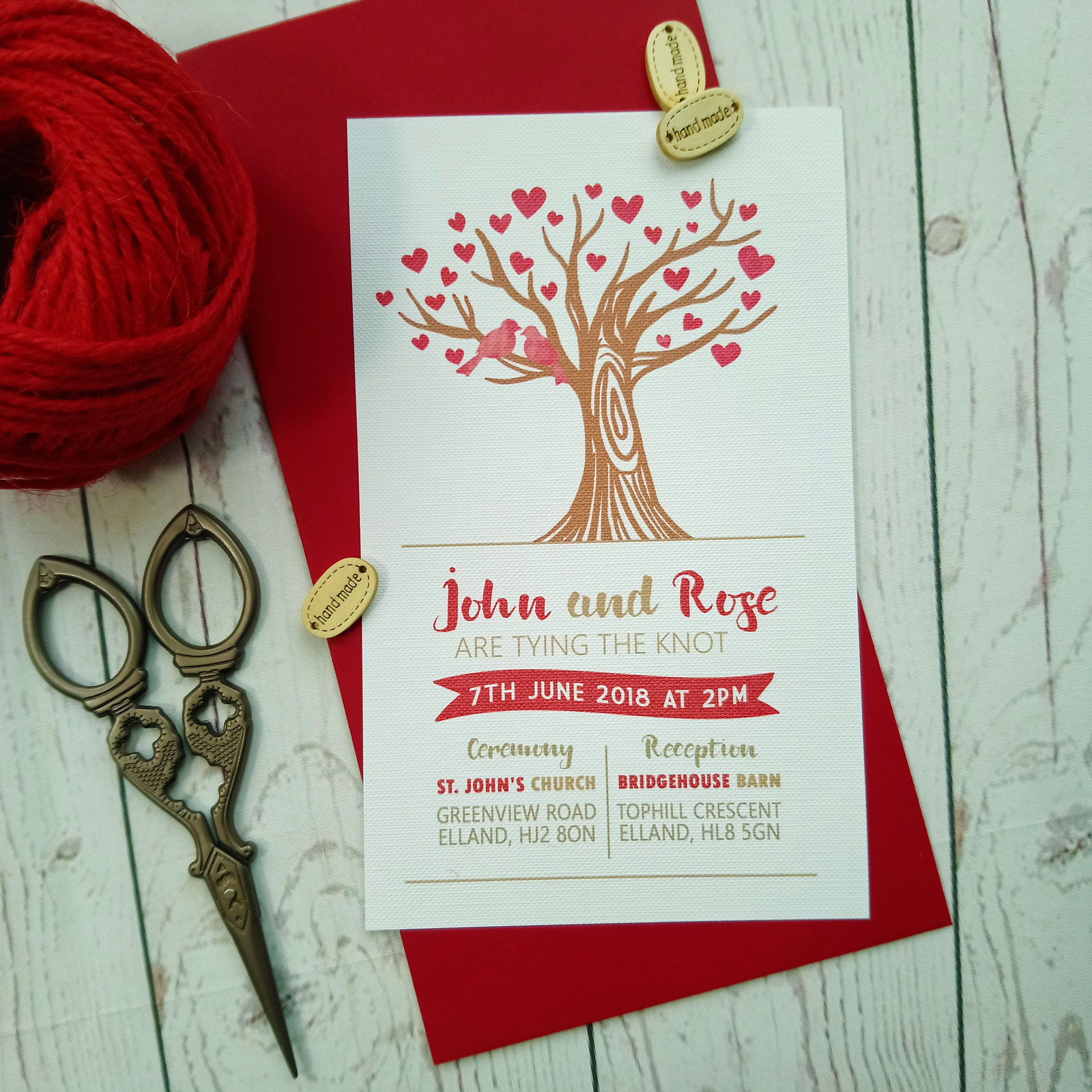 Red Love Hearts Tree Wedding Invitation - Sugar Crush Weddings