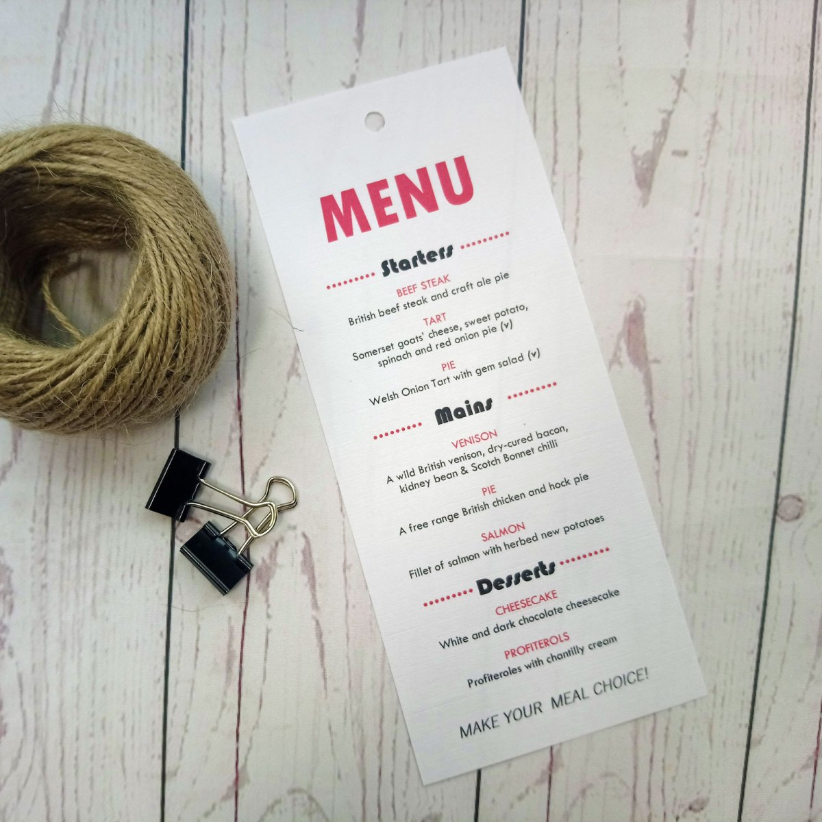 Rustic Picture Booth Menu Card on white textured paper
