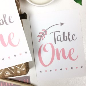 Rustic pink and grey table number