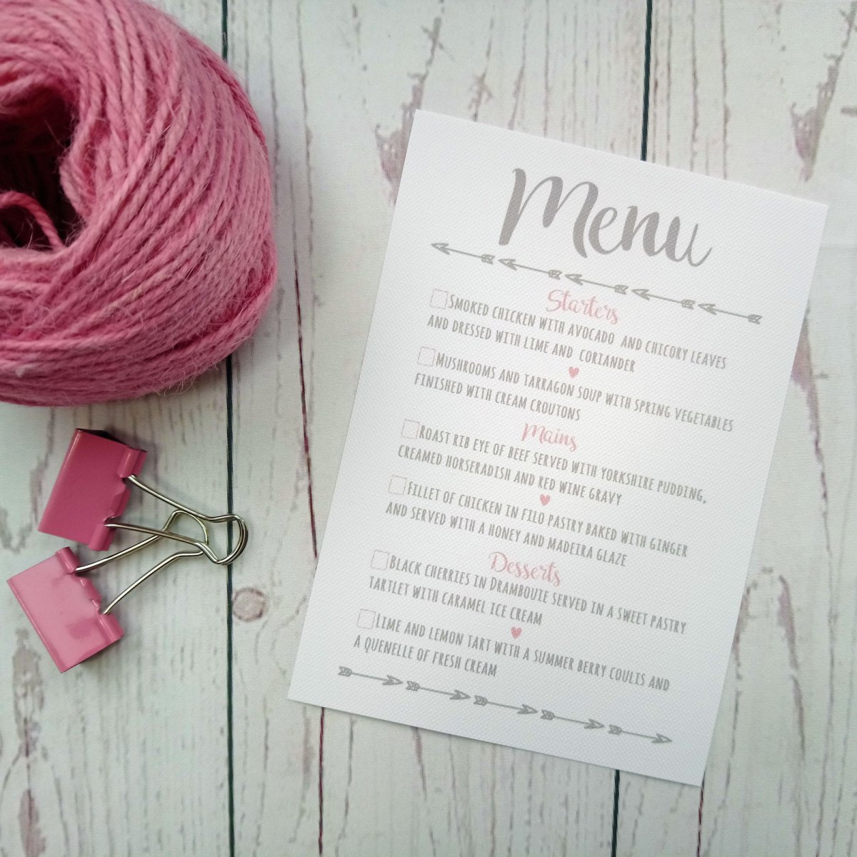 Hearts Arrows Photo Menu Card with meal choice