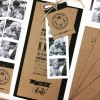 booklet craft invite with black and white pictures and tag