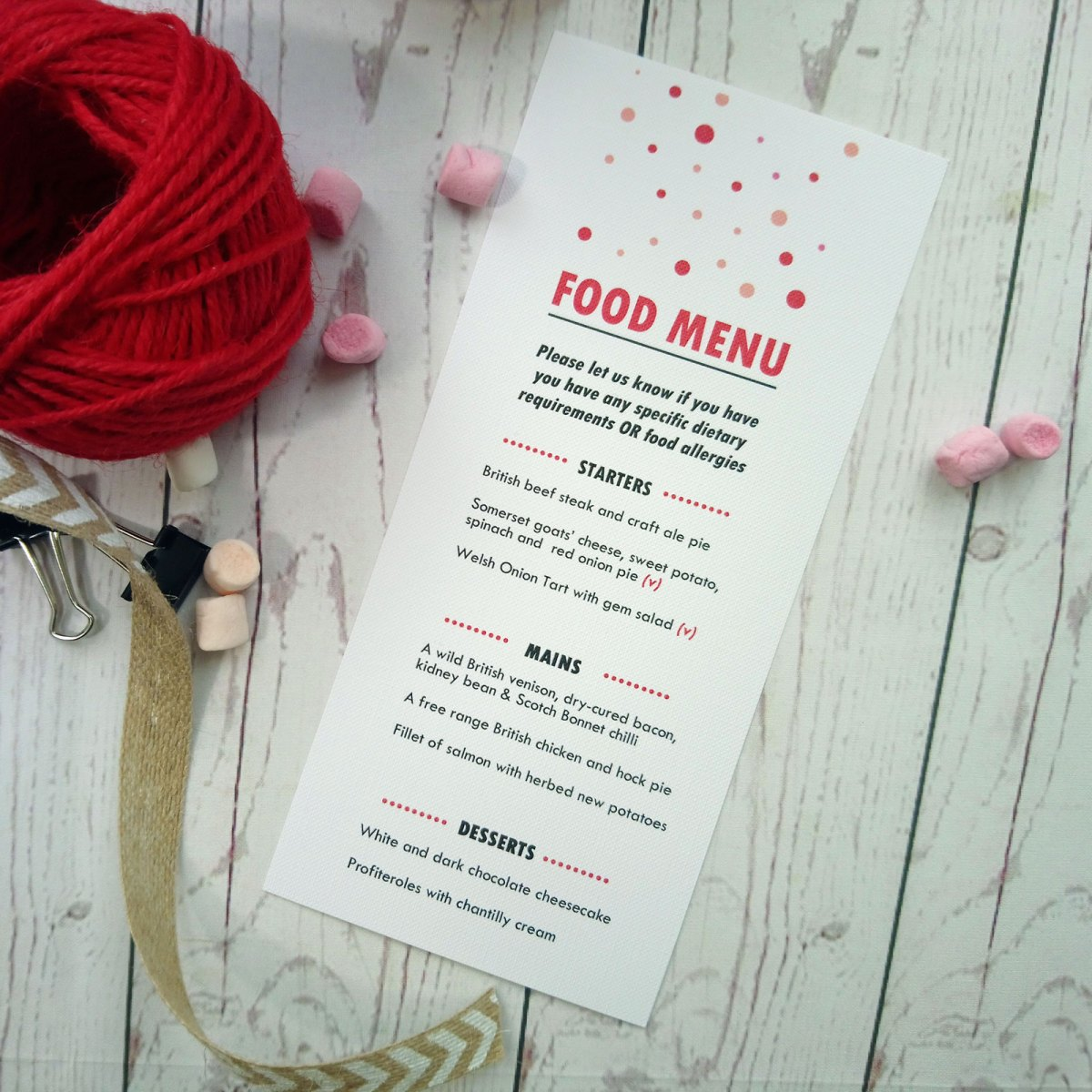 Red and Pink Polka Dot Menu Card