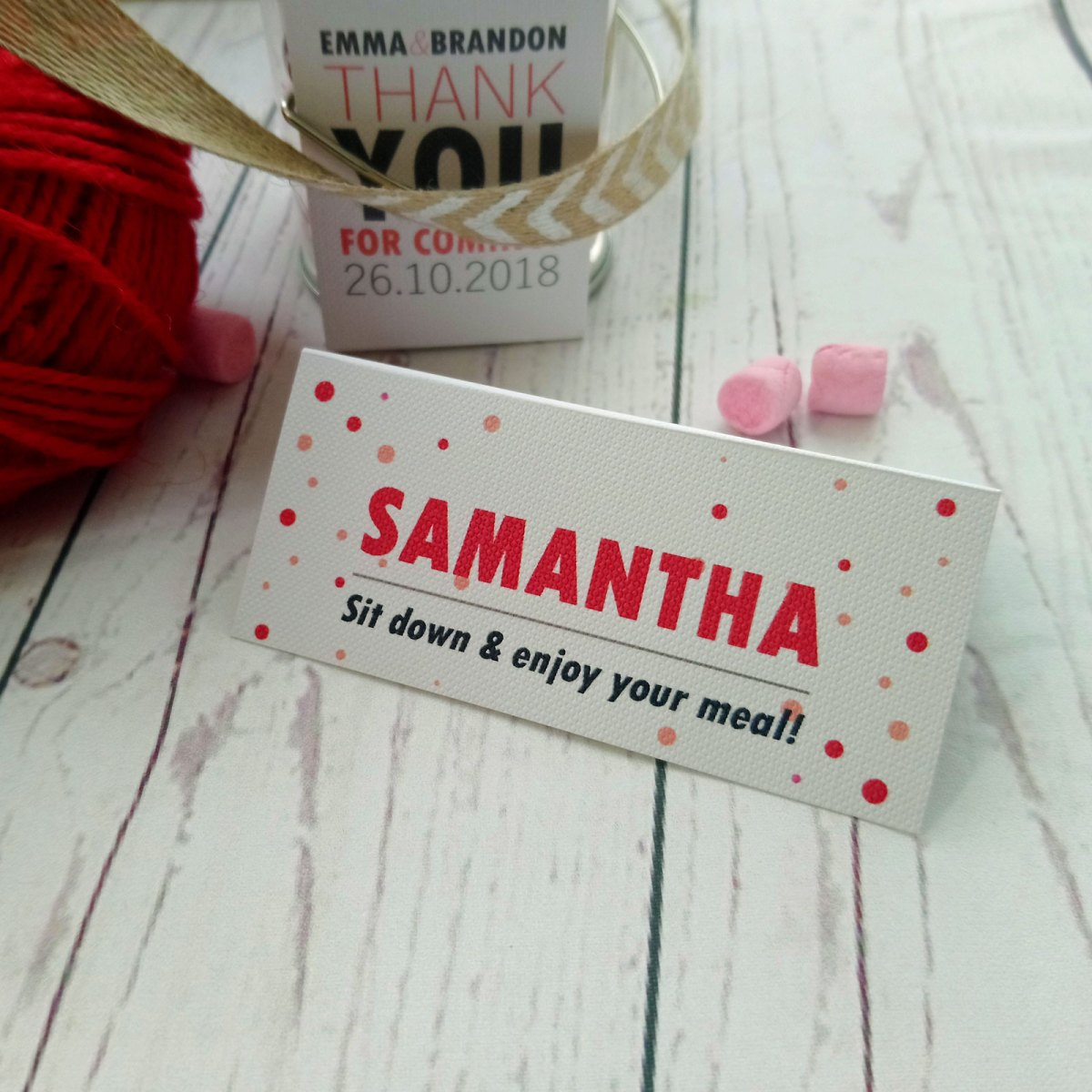 Red and Pink Polka Dot Place Card