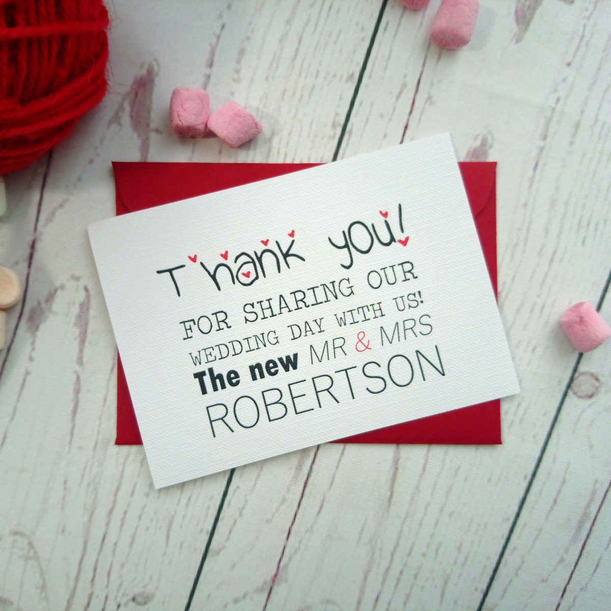 Red and Pink Polka Dot Thank You Card