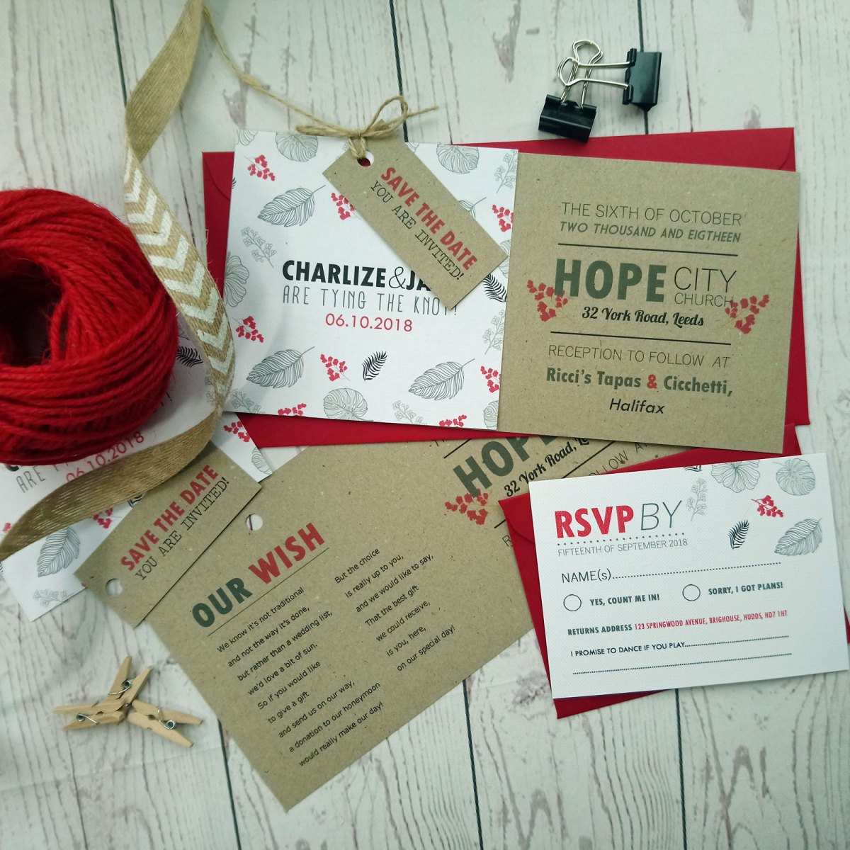 Rustic Red Flowers Nature Wedding Invitation