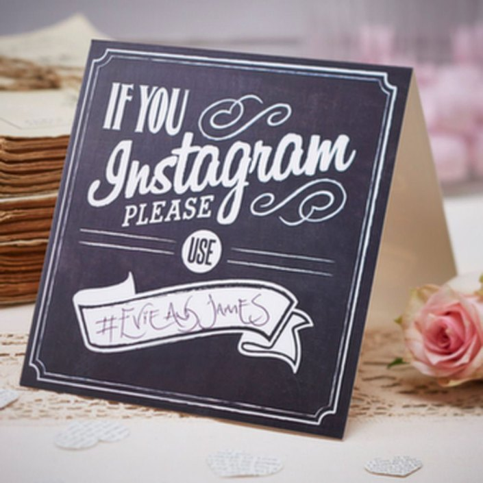 Chalkboard effect sign If you instagram please use hashtag