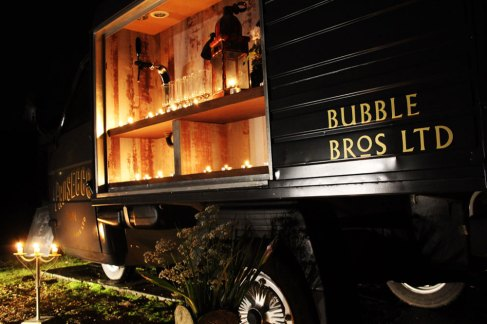 Shot of The Prosecco Van at night during a wedding